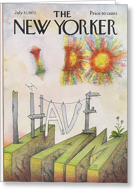 New Yorker July 31st, 1971 Greeting Card by Saul Steinberg