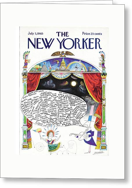 New Yorker July 3rd, 1965 Greeting Card by Saul Steinberg
