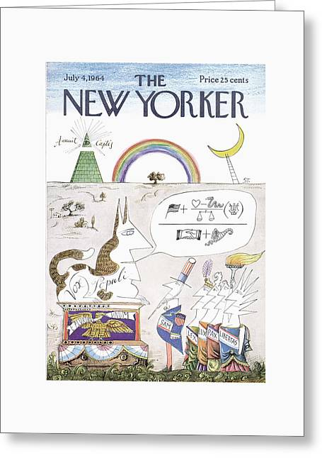 New Yorker July 4th, 1964 Greeting Card by Saul Steinberg