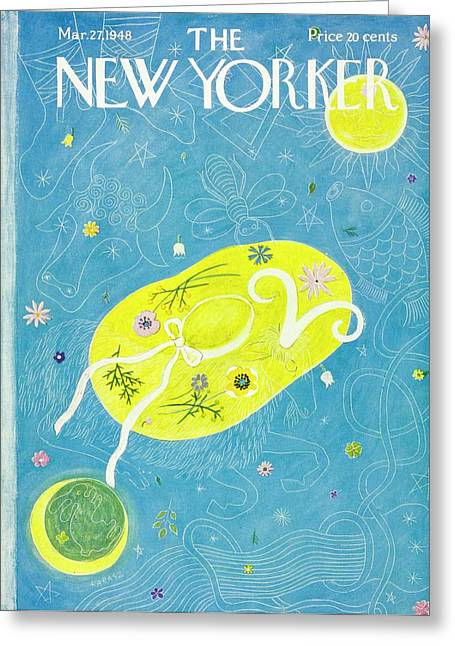 New Yorker Magazine Cover Of A Floral Hat Greeting Card