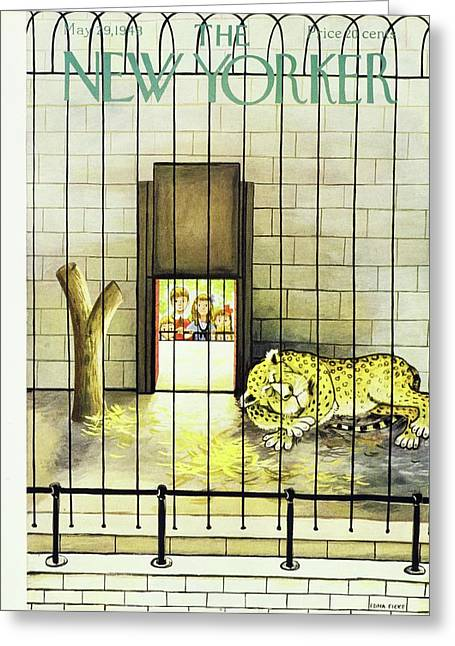 New Yorker Magazine Cover Of A Leopard Sleeping Greeting Card