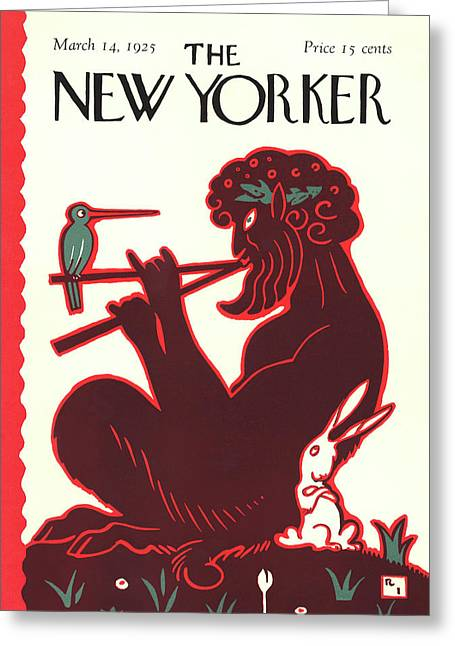 New Yorker March 14th, 1925 Greeting Card by Rea Irvin
