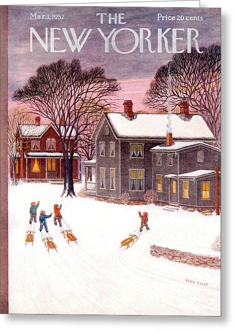 New Yorker March 1st, 1952 Greeting Card by Edna Eicke