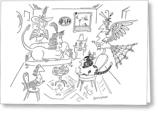 New Yorker March 28th, 1964 Greeting Card by Saul Steinberg