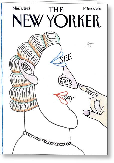 New Yorker March 9th, 1998 Greeting Card by Saul Steinberg