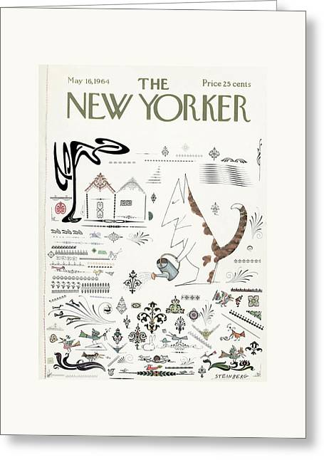 New Yorker May 16th, 1964 Greeting Card by Saul Steinberg