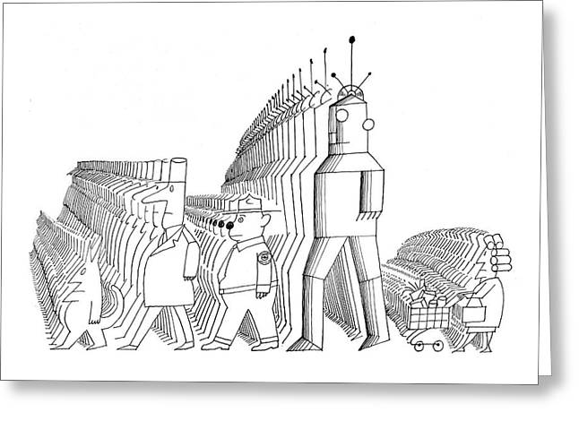 New Yorker May 25th, 1968 Greeting Card by Saul Steinberg
