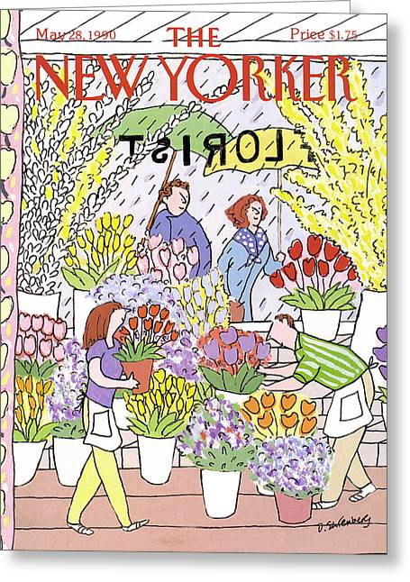 New Yorker May 28th, 1990 Greeting Card by Devera Ehrenberg