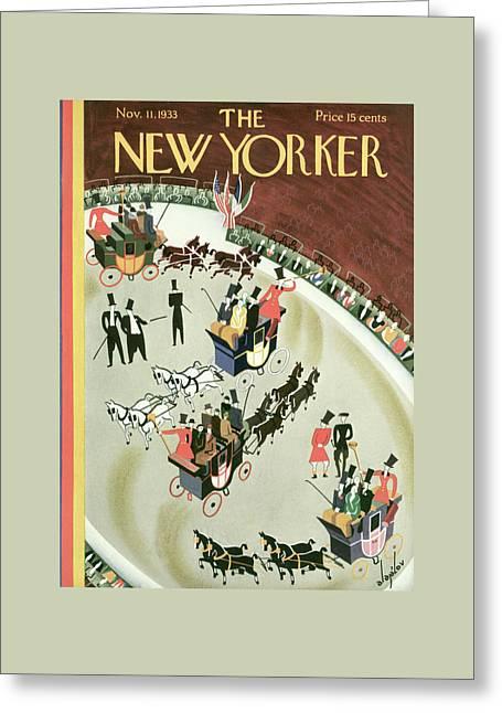 New Yorker November 11th, 1933 Greeting Card by Constantin Alajalov