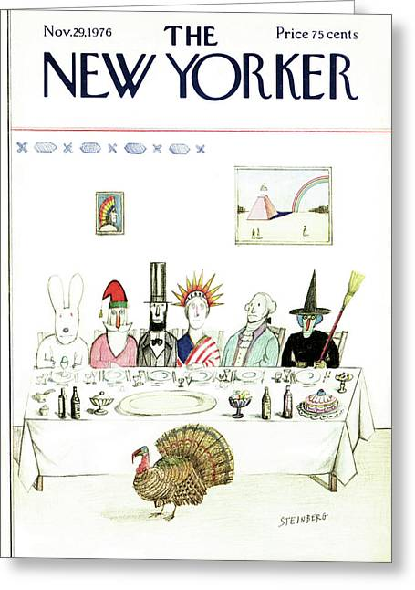 New Yorker November 29th, 1976 Greeting Card by Saul Steinberg