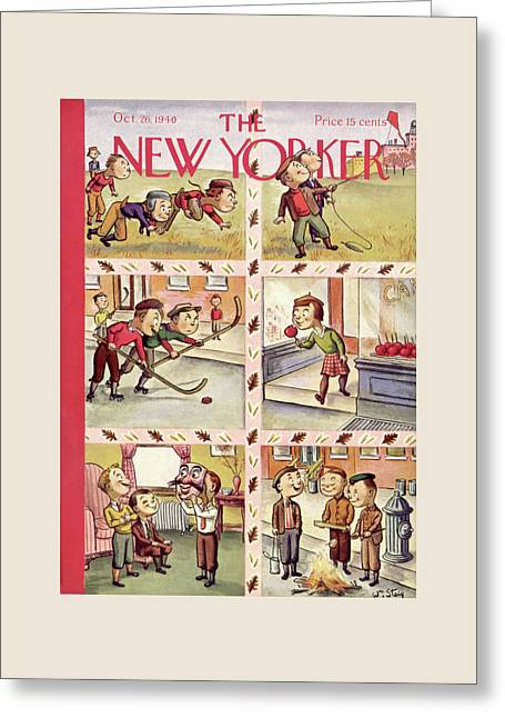 New Yorker October 26th, 1940 Greeting Card by William Steig