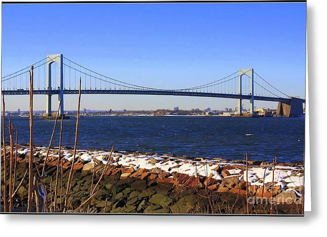 New York's Throgs Neck Bridge Greeting Card by  Photographic Art and Design by Dora Sofia Caputo