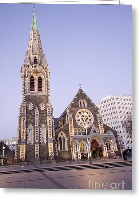 New Zealand Christchurch Cathedral Square At Twilight Greeting Card by Colin and Linda McKie
