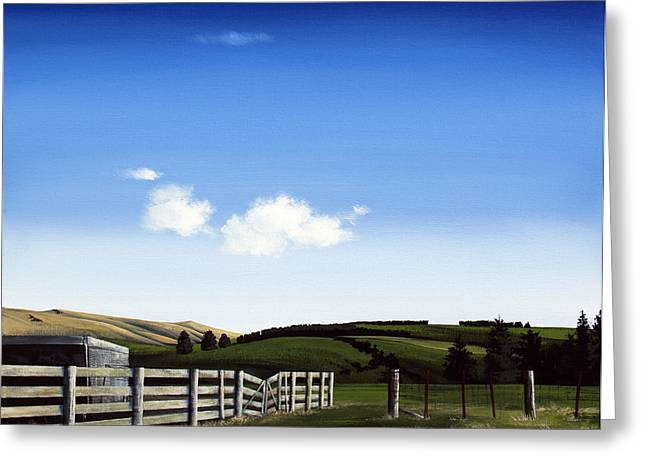 New Zealand Farm Gate By Linelle Stacey Greeting Card by Linelle Stacey