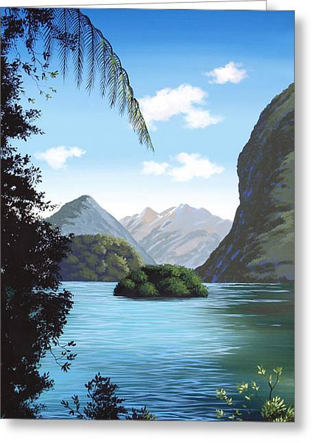 New Zealand Milford  By Linelle Stacey Greeting Card by Linelle Stacey