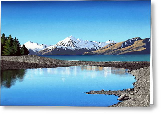 New Zealand Pukaki Stones By Linelle Stacey  Greeting Card