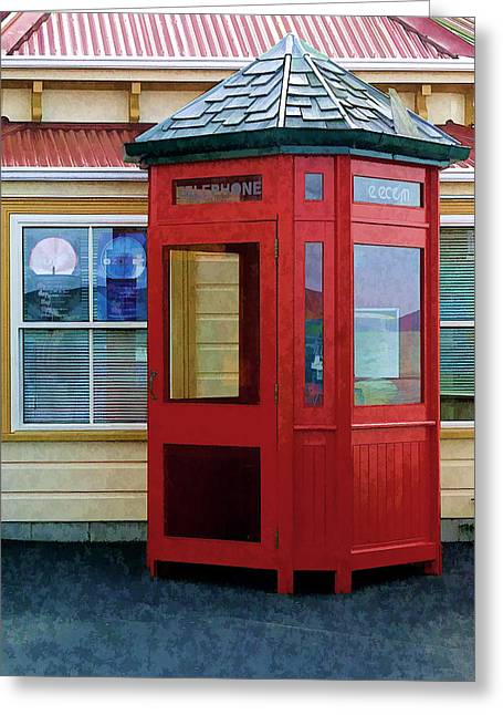 New Zealand Red Telephone Booth Greeting Card by Linda Phelps