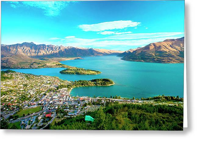 New Zealand, South Island, View Towards Greeting Card by Miva Stock