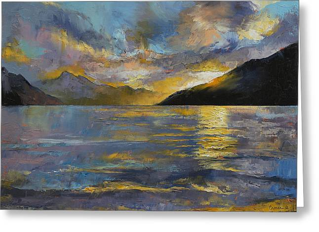 New Zealand Sunset Greeting Card by Michael Creese