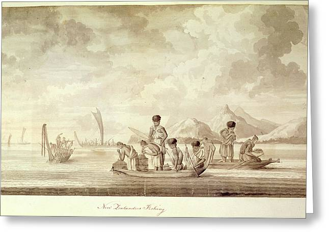 New Zealanders Fishing Greeting Card by British Library