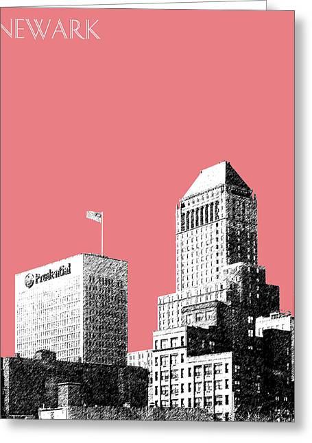 Newark Skyline - Salmon Greeting Card by DB Artist