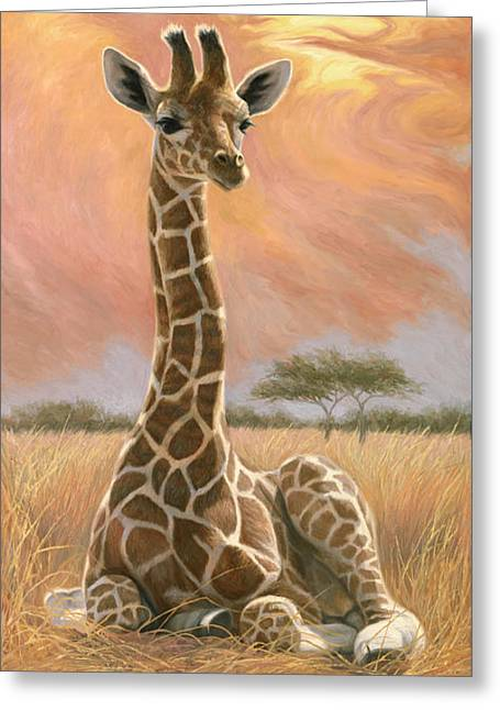 Newborn Giraffe Greeting Card by Lucie Bilodeau