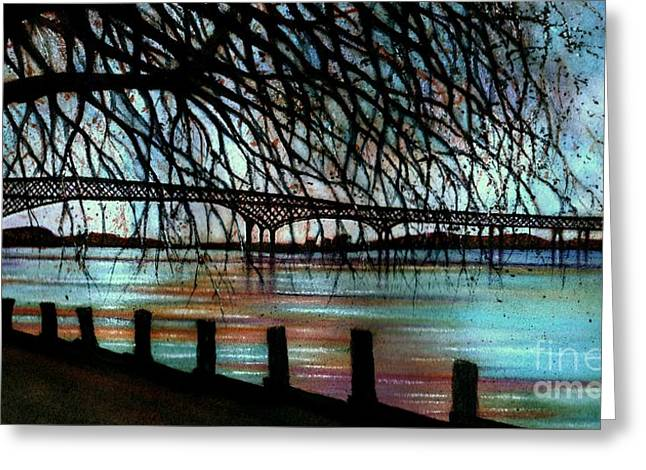 Newburgh - Beacon Bridge Night Sky Greeting Card by Janine Riley