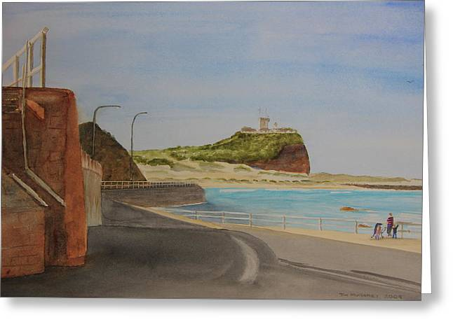 Greeting Card featuring the painting Newcastle Nsw Australia by Tim Mullaney