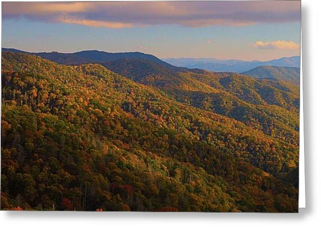 Newfound Gap Road In Autumn Greeting Card by Dan Sproul
