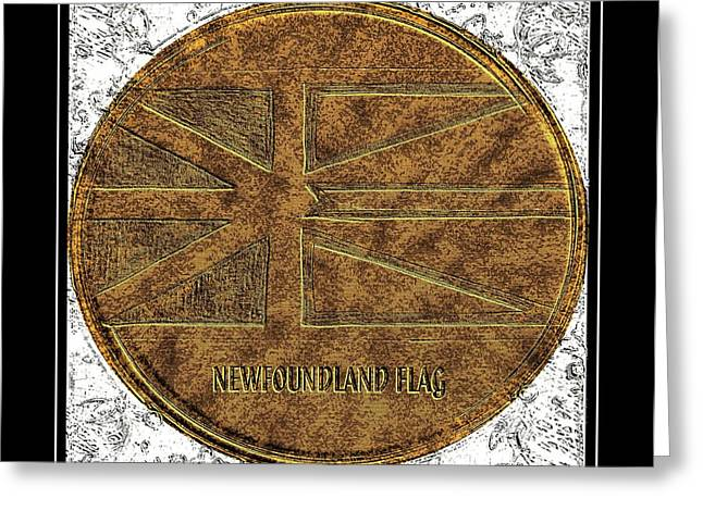 Newfoundland Flag - Brass Etching Greeting Card by Barbara Griffin