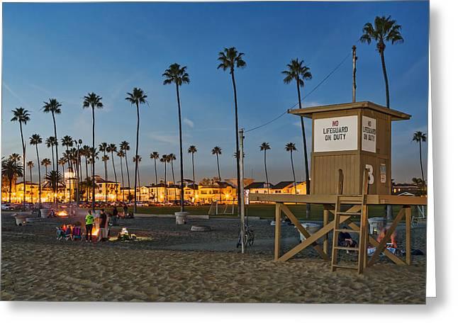 Newport Beach At Dusk Greeting Card by Kelley King
