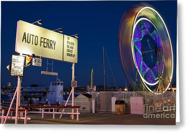 Newport Beach Auto Ferry Greeting Card by Eddie Yerkish