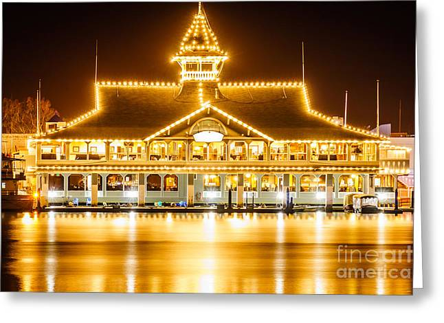 Newport Beach Balboa Pavilion At Night Picture Greeting Card by Paul Velgos
