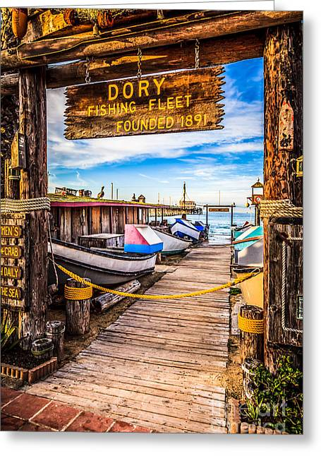 Newport Beach Dory Fishing Fleet Market Photo Greeting Card by Paul Velgos
