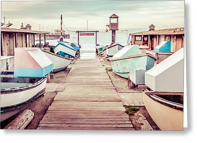 Newport Beach Dory Fleet Retro Panorama Photo Greeting Card by Paul Velgos