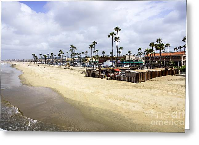 Newport Beach Oceanfront Businesses With Dory Fleet Greeting Card by Paul Velgos