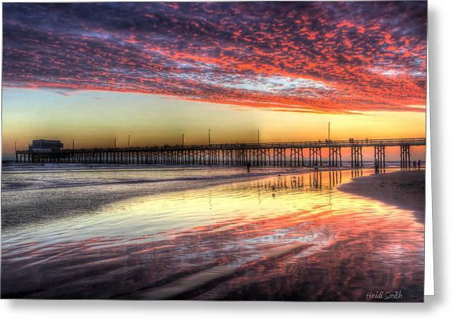 Newport Beach Pier Sunset Greeting Card