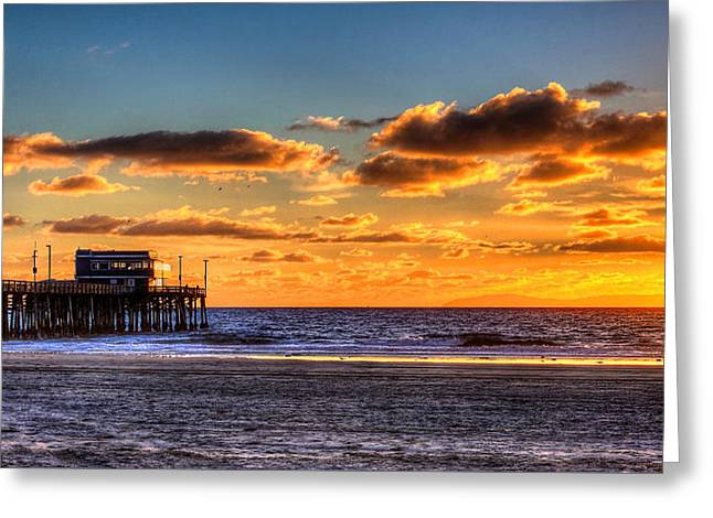 Greeting Card featuring the photograph Newport Beach Pier - Sunset by Jim Carrell