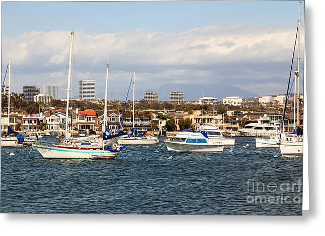 Newport Beach Skyline In Orange County California Greeting Card by Paul Velgos