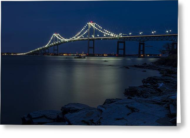 Newport Bridge Greeting Card by Dave Cleaveland
