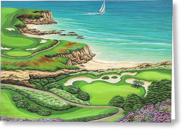 Greeting Card featuring the painting Newport Coast by Jane Girardot