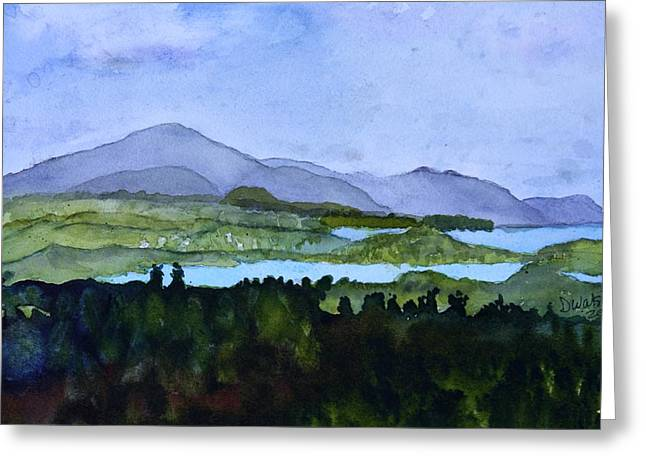 Greeting Card featuring the painting Newport From Brownington Lookout by Donna Walsh