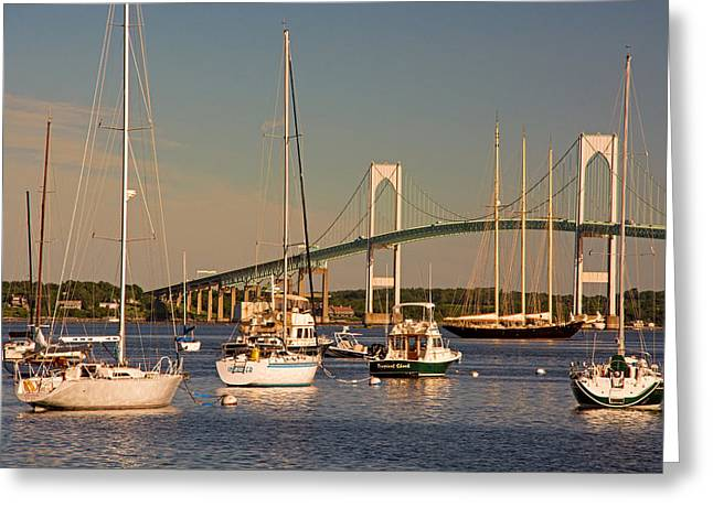 Newport Harbor With Pell Bridge Greeting Card