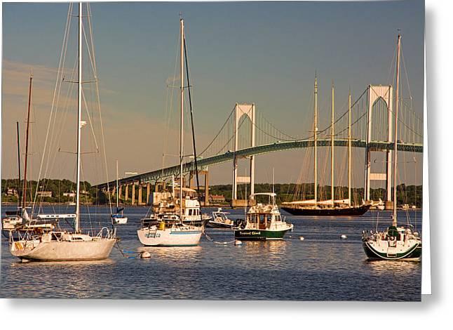 Newport Harbor With Pell Bridge Greeting Card by Nancy De Flon