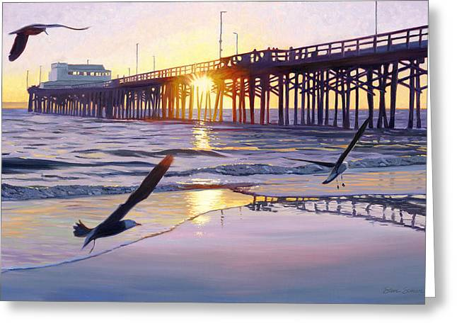 Newport Pier Sunset Greeting Card by Steve Simon