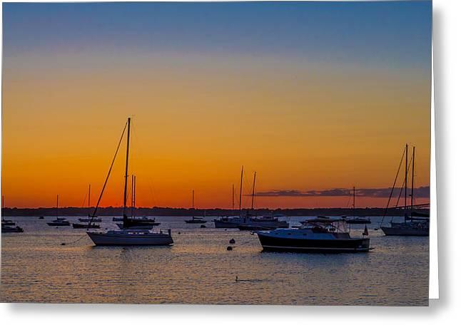Newport Ri Sunset Greeting Card by Sean Mackie
