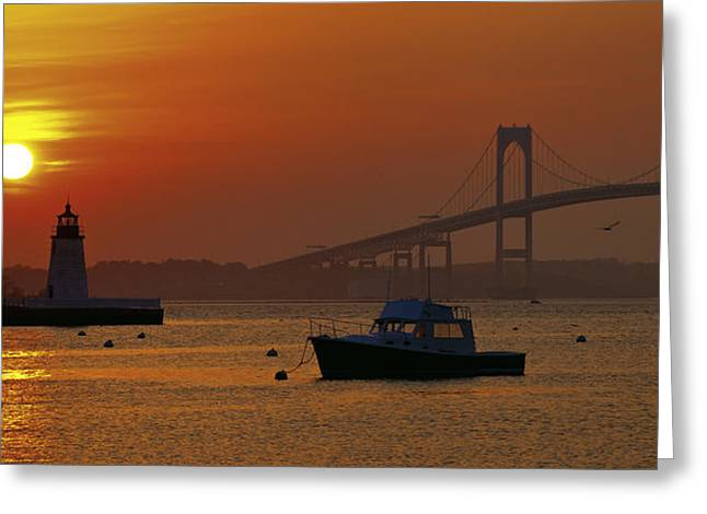 Newport Sunset Greeting Card by Lou Ford