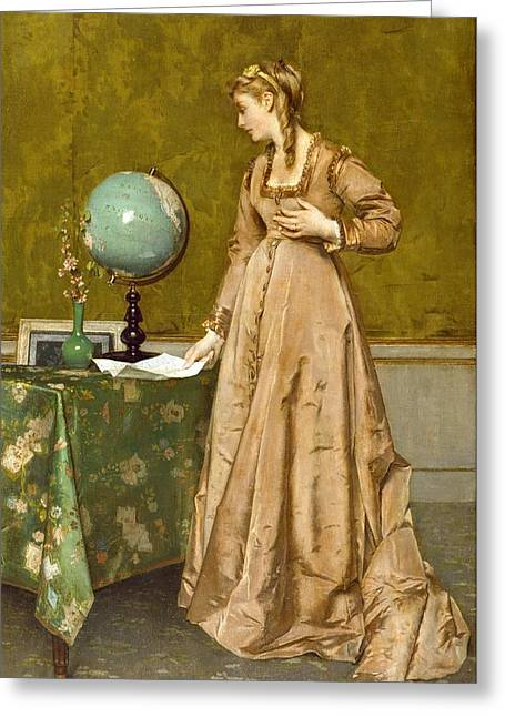 News From Afar Greeting Card by Alfred Emile Stevens