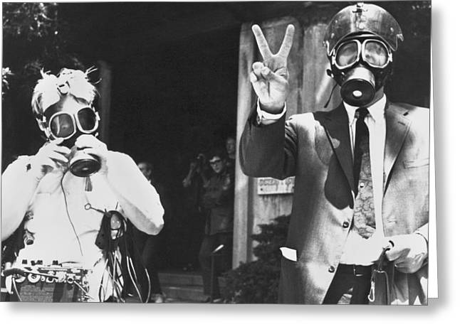 Newsmen Ready For Tear Gas Greeting Card by Underwood Archives Grierson