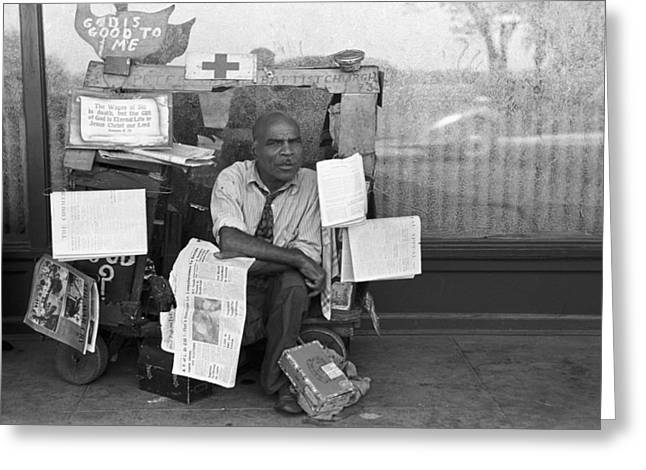 Newspaper Peddler, 1938 Greeting Card by Granger